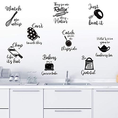 Küche Zitate Wandaufkleber Küche Schriftzug Wandtattoo Küchengeschirr mit Sprüchen Wanddekoration für Küche Esszimmer Backzimmer Restaurant