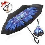 ZOMAKE Paraguas de Doble Capa Invertido, Paraguas Plegable Reversible con Protección contra Rayos UV, Resistencia con Viento, Mango en Forma de C para Mujer Hombre Coche(Arce otoñal)
