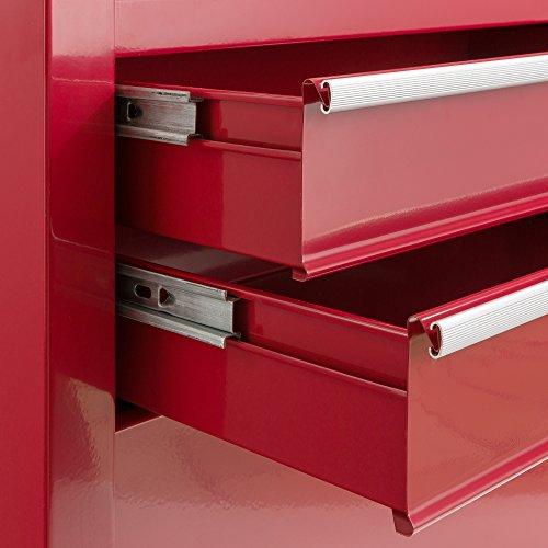 Arebos Werkstattwagen 9 Fächer rot (✓ zentral abschließbar, ✓ Abnehmbarer Werkzeugkasten, ✓ Massives Metall) - 5