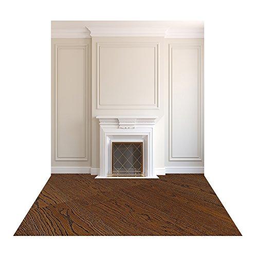 Muzi 150x250cm witte muur fotografie achtergrond open haard fotografie achtergrond donker bruin houten vloer bakdrop houten vloer drop XT-4307