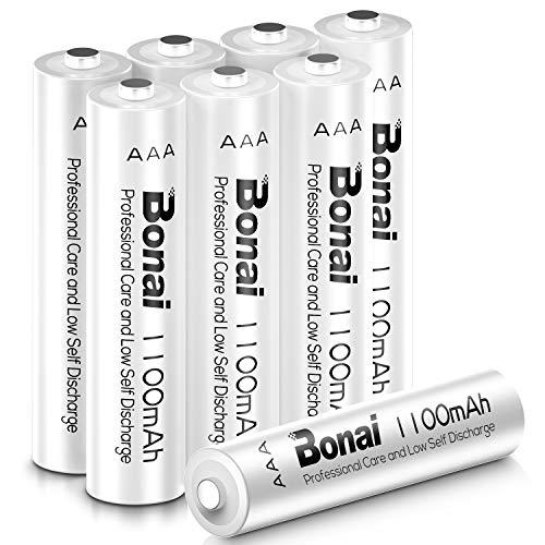 BONAI 1100mAh AAA Rechargeable Batteries 1.2V Ni-MH High-Capacity Batteries 8 Pack