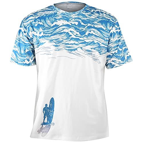 Hztyyier Camisas Hawaianas Florales para Hombre Camisetas Estampadas con Cuello Redondo Camisa de Manga Corta de Estilo Informal con Estilo Informal Suelto(M-DX010008)