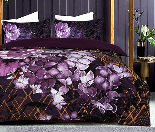 Nimsay Home, lussuoso copripiumino con motivo floreale a peonia, motivo floreale, 3 pezzi, per letto matrimoniale, colore: malva