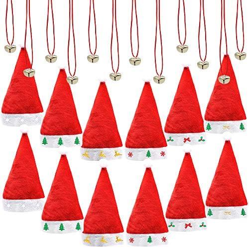 12 Pcs Premium Santa Hats with 12 Pcs Jingle Bell Necklaces A Dozen Christmas Hats Bulk for product image