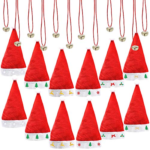 12 Pcs Premium Santa Hats with 12 Pcs Jingle Bell Necklaces, A Dozen Christmas Hats Bulk for Christmas Party, ONE SIZE FITS ALL