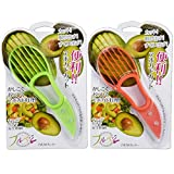 3 in 1 Avocado Slicer and Pitter - Multi-functional Avocado Peeler Cutter Skinner and Corer, Avocado Tool (Pack of 2, Green & Orange)