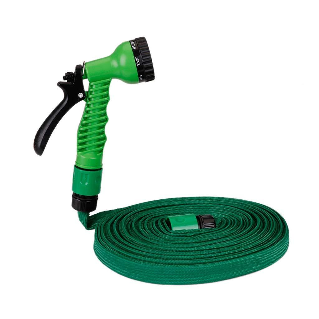 TMY 25-100FT Manguera de jardín Extensible Manguera de Agua de jardín Flexible para Conector de riego de Tubo de Manguera de automóvil con Pistola pulverizadora (Color : Green, tamaño : 5 Meters):