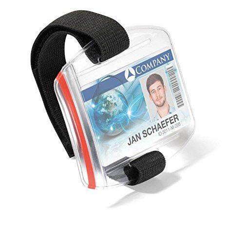 Durable 841419 Ausweishalter (mit verstellbarer Armschlaufe, wasserdicht, UV- und kältestabil) 10 Stück Ausweishülle transparent/Band schwarz