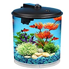 Energy-efficient LED lighting with 7 dazzling color selections to brightly illuminate your fish, choose daylight white, blue, green, amber, aqua, purple, or red. Powerful internal power filter cleans and purifies aquarium water at a flow rate of 25 g...