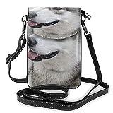 Bandolera pequeña Siberian Husky de color blanco y gris con correa ajustable para la vida diaria