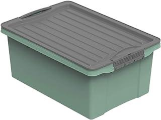 Rotho Compact Boîte de rangement 13l avec couvercle, Plastique (PP recyclé) sans BPA, vert/anthracite, A4/13l (39.5 x 27.5...