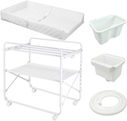 ZAQI White Changing Tables for Small Spaces and Bathroom  Folding Adjustable Nursery Dressers with Storage  85x50x110cm