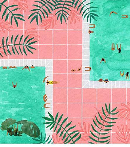 Pintura nórdica pequeña y fresca de la pared de la piscina Arte de la pared Pintura e impresión en lienzo para la decoración moderna de la sala de estar del hogar23.6 'x 23.6' (60x60cm) Sin marco