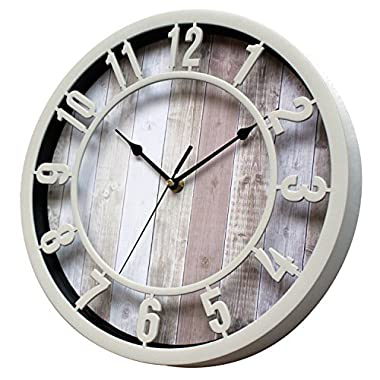Sunbright 12 Inch Rustic Decorative Noiseless Wall Clock Silent Non-Ticking for Home, Office, School, Cream