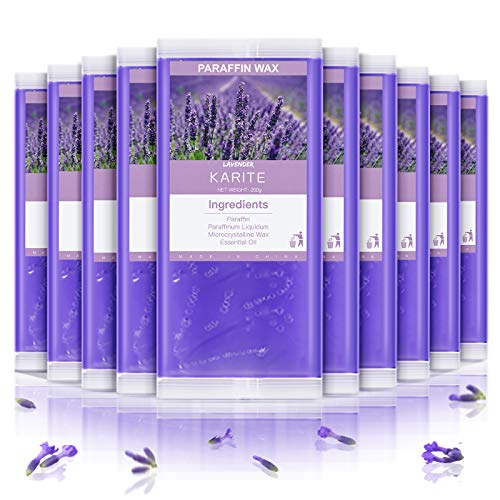 KARITE Paraffin Wax Refills, 10 Pack Lavender Scented Paraffin Wax Beads Blocks for Paraffin Bath, Paraffin Wax Machine Refills for Hand Feet Dry Skin, Relieve Stiff Muscles and Pain, Deep Hydration