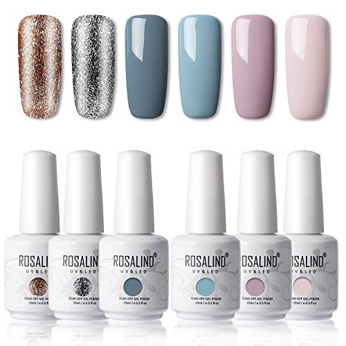 ROSALIND 15ML Smalto Semipermanente,6pcs Set Gel Colori Unghie Grigio per Manicure Smalti Semipermanente