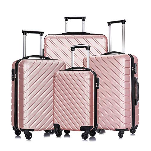 4 Piece Luggage Sets,Travel Suitcase Spinner Hardshell Lightweight w/Free Suitcase Cover& Hanger (Rose Gold, 18 20 24 28 Inch)