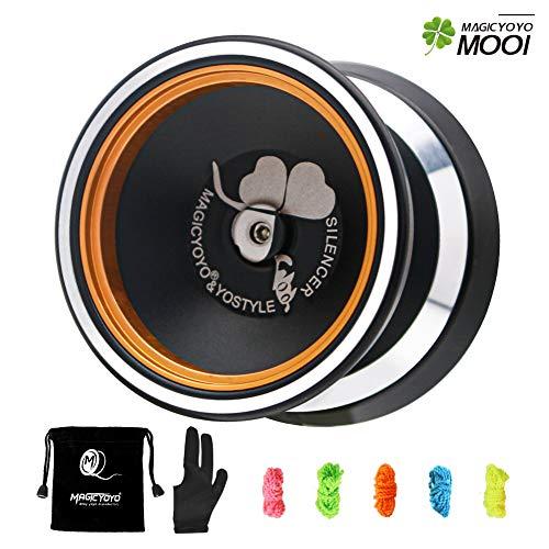 MAGICYOYO Professional Unresponsive Yoyo M001-B Silencer, Cool Bi-Metal Alloy Aluminum Yo-yo with Metal Rings, Steel Stainless Center Yoyo Bearing , 5 Yoyo Strings + Glove +Yoyo Bag ( Black)