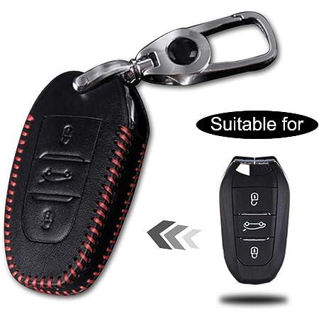 Schlüssel Hülle Leder Auto Schlüsseltasche Mit Schlüsselanhänger Für 3 Tasten Keyless Go Fernbedienung Autoschlüssel Rotes Nähen 1 Stück Modell C Auto