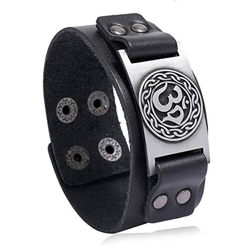Damen Lederarmbänder,Punk Handmade Geflochtenes Schwarz Breites Armband Leder Armband Antik Silber Om Zeichen Armreif Modeschmuck Für Unisex Geburtstagsgeschenk