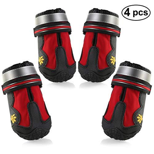 Petyoung - Botas para perro impermeables de malla transpirable con cinta reflectante y suela antideslizante resistente para perros de tamaño mediano a grande, 4 unidades