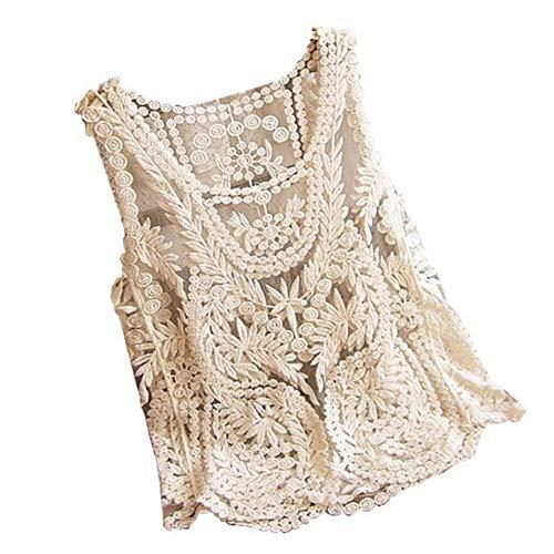 Vonfon Women Lace Floral Sleeveless Crochet Knit Vest Tank Top Shirt Blouse Apricot Yellow Extra Large