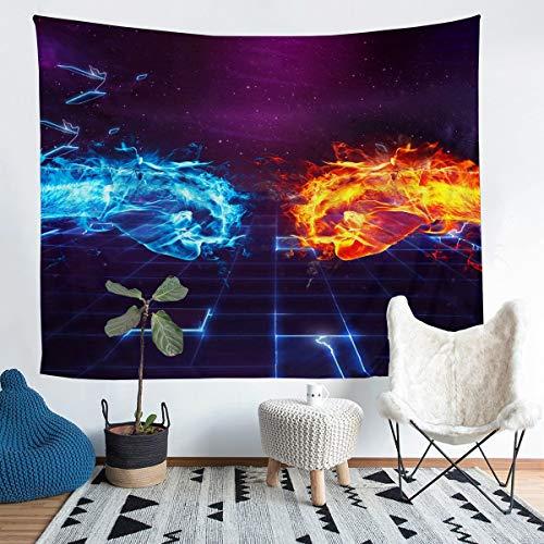 Yin Yang Tapiz Boho Trippy Arte Psicodélico Tapiz para colgar en la pared para niños y niñas puño de mano tapiz de pared de hielo y fuego, arte para dormitorio sala de estar, grande 58 x 79 pulgadas