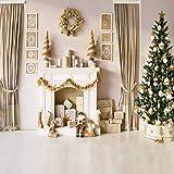 AIIKES 3Mx3M/10x10FT Chimenea del árbol de Navidad Fotografía de Fondos Estudio de Vinilo Telón de Fondo para la Foto Año Nuevo Decoración del Hogar Apoyos 11-192