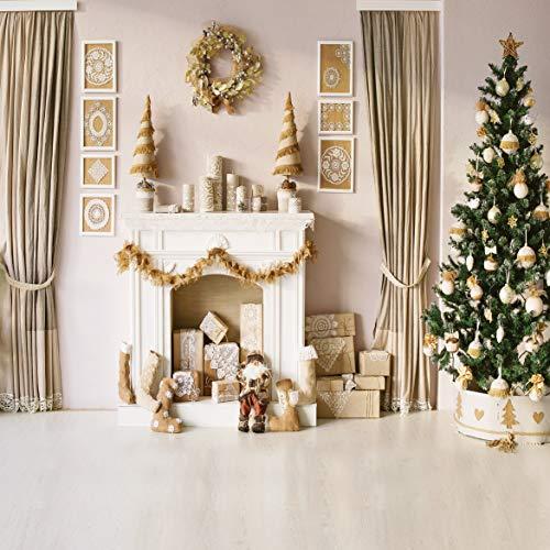 AIIKES 3Mx3M/10x10FT Chimenea del árbol de Navidad Fotografía de Fondos Estudio de Vinilo Telón de Fondo para la...