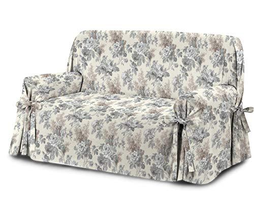 Homelife Sofabezug Beige & Couch Überzug   weicher Sessel & Sofa Überzug & Sofaüberwurf Decke Blumenmuster   Sofa Überwurf aus angenehmer Baumwolle   schöne Sofa Cover Abdeckung