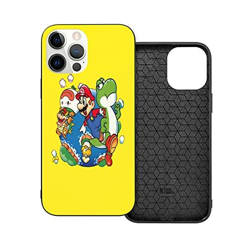 Compatible con iPhone 12/11 Pro MAX 12 Mini SE X/XS MAX XR 8 7 6 6s Plus Funda Super Mario World - Around The World, Super Mario Black Cajas del Teléfono Cover