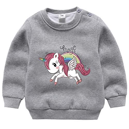 Niñas Unicornio Sudaderas de Vellón Invierno Pulóver Lana Jersey Tops Camiseta de Manga Larga Sweatshirt para 1-6 Años