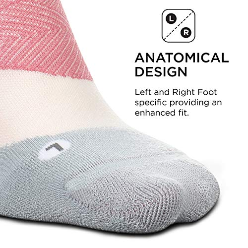 Feetures Elite Ultra Light No Show Tab Sock Wave (Medium, Polychrome Pink)