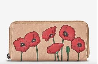 Lichfield Leather Yoshi Blush Pink Red Poppy Flower Zip Around Purse Wallet