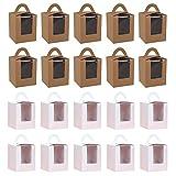 20pcs Cajas de Cupcakes, Caja de Pastel Portátil con Ventana y Asa,Cajas para Regalo, Cajas de Regalo de Cupcakes para Panadería,Fiestas de Navidad, Decoración de Bodas (Blanco, Papel Kraft)