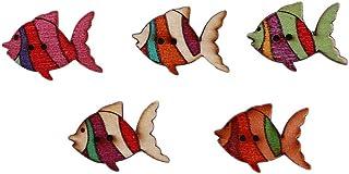 PULABO Lot de 50 boutons en bois de poisson pour loisirs créatifs, scrapbooking, couture, accessoires de vêtements