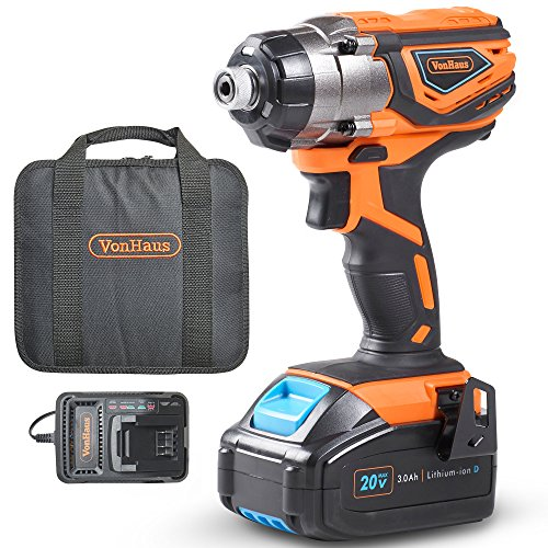"VonHaus Cordless Impact Driver with 3.0Ah Li-ion 20V MAX Battery, Charger & Power Tool Bag - Includes Direction Control & Variable Speed Trigger (¼"" Hex Drive, 120Nm Torque)"