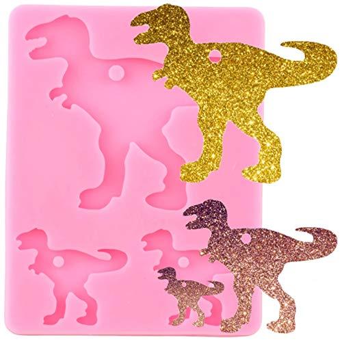 WYNYX Glänzende Dinosaurier Familie Silikon Schlüsselanhänger Form Tier Dinosaurier Schlüsselanhänger Anhänger Polymer Clay DIYHerstellung Epoxidharz Form
