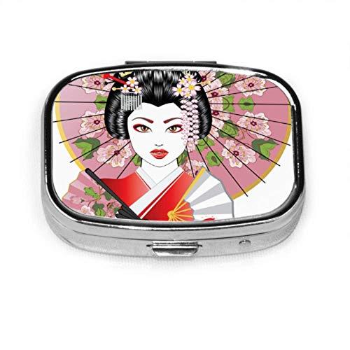 Pill Box Portrait Geisha Oriental Fan Dekorativer Regenschirm Niedliche Pille Hülle Tägliche Pille Tragbar Für Taschengeldbörse Aktentasche Reise Pillen Box