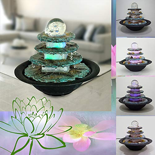 Dapo Zimmerbrunnen Terrasse-Tisch-Balkon-Brunnen LED farbwechselnd Wellness-Dekorations-Entspannungs-Brunnen, Raum-Luft-Befeuchter, Brunnen