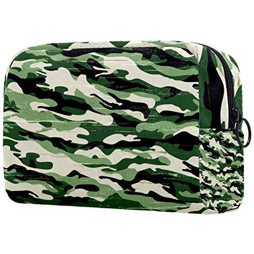 Yitian Bolsa de cosméticos militar de camuflaje verde para mujeres, bolsas de maquillaje espaciosas adorables