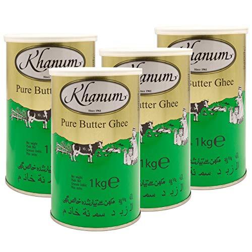 Khanum - Pure Butter Ghee - Bestes Butterfett zum Braten und Kochen im 4er Set à 1 kg Dose