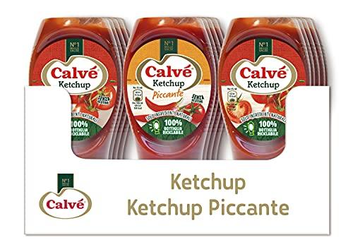 Calvè Cassa Mista Ketchup: 9 pezzi di Calvè Ketchup Standard 250ml e 6 pezzi di Ketchup Piccante 250ml