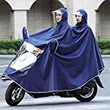 HFJKD Electric Mobility Double Person Poncho, Scooter Motorcycle Rain Cape Coat Mens Womens Rain Cape Poncho with Hat Brim Protection