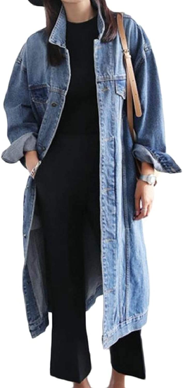 Women Classic Jean Lapel Neck Plus Size Washed Long Denim Coat
