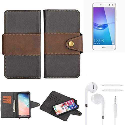 K-S-Trade® Handy-Hülle Schutz-Hülle Bookstyle Wallet-Case Für -Huawei Y6 (2017) Single SIM- + Earphones Bumper R&umschutz Schwarz-braun 1x