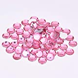 Xuccus JUNAO 2 6 8 10 18 20mm Rose Color Flatback Crystal Rhinestones Round Acrylic Crystal Stone Applique Non Sewn Strass for Garment - (Color: Light Pink, Size: 20mm 100pcs)