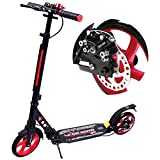 WINNINGO Kick Scooter for Adults Teens with Disc Brake, Easy-Folding System, 220lb Weight Capacity, 8' PU Wheels, Adjustable Height and Dual Shock-Absorbing (Red)