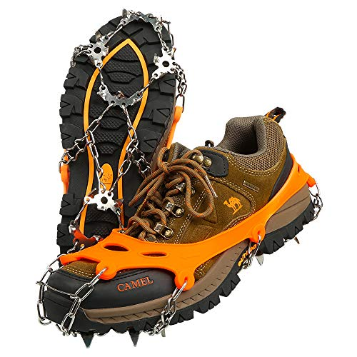 BIFY Schuhspikes, Steigeisen mit 19 Edelstahl Zähne Spikes, Schuhkrallen,Schneekette,Spikes,für Bodenhaftung auf EIS und Schnee and Sport (Orange, XL)