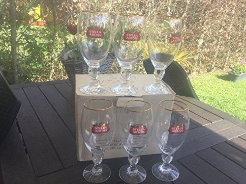 STELLA ARTOIS - Set di 6 bicchieri da birra, 50 cl, bordo dorato